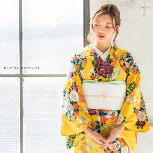 【夏着物】黄色 鼓、古典草花
