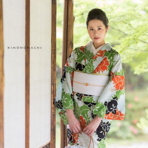 【夏着物】松葉色×白、オレンジ、黒 花々