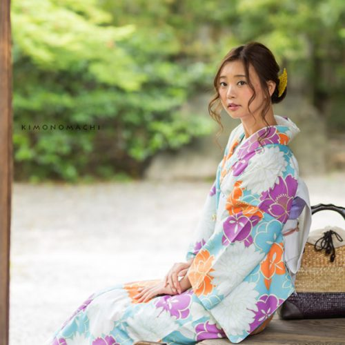 【夏着物】水色×白、オレンジ、青藤 花々