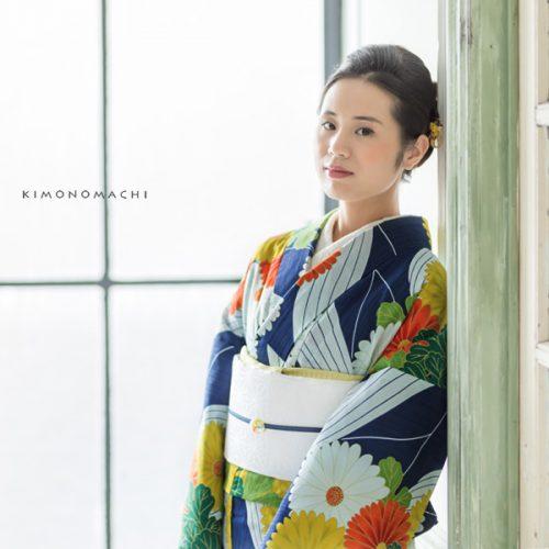 【夏着物】紺青色 菊花