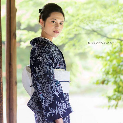 【夏着物】鉄紺色竹林