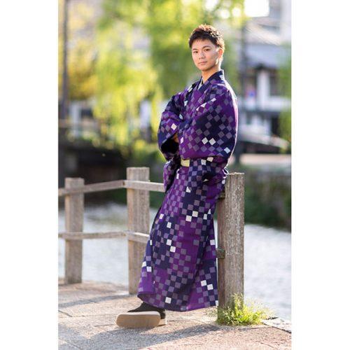 【夏着物】市松 紫